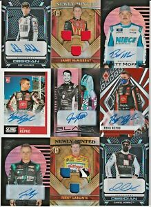 LOT (9) Nascar 2021 Panini Chronicles Race-Used Tire Fire Suit Relic AUTO RC /25