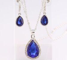 Teardrop Necklace Earrings SET SAPPHIRE BLUE Crystal Free Gift Pouch Luxury
