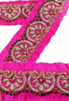 Vintage Sari Border Antique Hand Beaded Work 1 YD Indian Trim Sewing Pink Lace