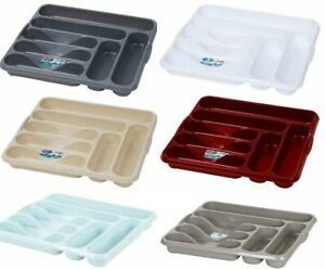 New Plastic Cutlery Tray Large Organiser Holder Drawer Insert Tidy Storage Rack