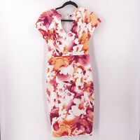 Black Halo Sheath Dress Size 6 Sadie White Pink Orange Midi Dress