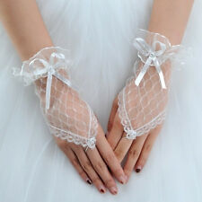 Brides Lace Fingerless Short Gloves 80s Madonna Bridal Wedding Costume Burlesque