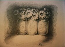 original pencil drawing flowers in mason jars