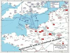 WWII Allied Invasion Plans & German Positions Map in Normandy June 6, 1944 11x14