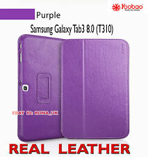 "Executive Real Leather Case for Samsung Galaxy Tab 3 8"" (T310) Purple"