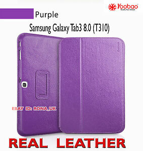 """Executive Real Leather Case for Samsung Galaxy Tab 3 8"""" (T310) Purple"""