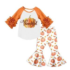 Fall Thanksgiving Boutique Outfit Bell Pants Set Size 6-12M, 4T,