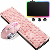 Pink Wireless Gaming Keyboard + Mouse + RGB Mouse pad Set with LED Backlit Combo