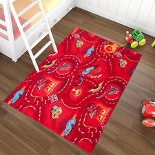 Red Kid's Rug Disney Lightning McQueen Racing Cars Children's Playroom Play Mat