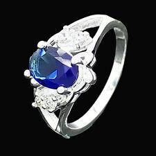 Fashion women lady silver Zircon Lady Blue cute wedding Austria crystal Ring