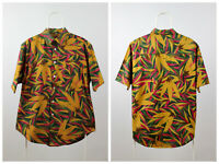 Mens Vintage Hawaii Style Shirt 90s Short Sleeves Aztec Size M