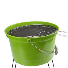 Portable Lightweight Camping Charcoal Bucket Grill Picnic BBQ Barbecue Green
