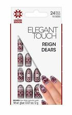 Elegant Touch False Nails - Reign Dears Burgundy & White Nails (24 Nails)