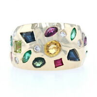 Yellow Gold Sapphire Ruby Emerald Cluster Band - 14k Oval 2.06ctw Ring Sz 5 1/4