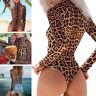 Damen Leopard Jumpsuit Bodysuit Playsuit Rollkragen Overalls Slim Stringbody Top