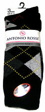 3 PAIRS MENS ANTONIO ROSSI BLACK ARGYLE COTTON RICH DIAMOND SOCKS - BLACK - NEW