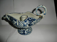 19th Century Rare Hen Hand Painted Delft Candle Holder