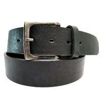 Echt Herren Gürtel Jeans Gürtel Eckig Belt Black Luxus Schwarz 4 Größen 4 cm NEU