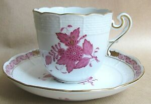HEREND APPONYI CHINESE BOUQUET AP PURPLE 706 CUP & SAUCER MINT/UNUSED (Ref7240)
