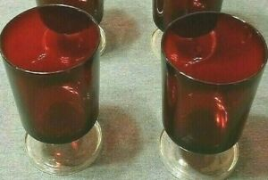 Lot 2 RUBY RED Arcoroc Luminarc France Clear Stem Juice Cordial Glasses Collect