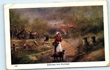 *1914 Awaiting the Postman Woman Dog Waiting for Mail Carrier Old Postcard C16