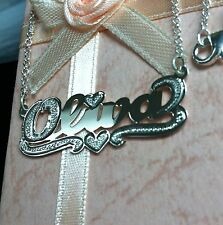NAME SINGLE PLATE SILVER PERSONALIZED CHOOSE NAME NECKLACE*Haert Tail*