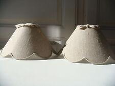 Abat jour festonné lin ancien pour lustre ou applique diamètre 20 cm