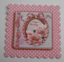 PK 2 HAPPY BIRTHDAY PINK MAGNOLIA EMBELLISHMENT TOPPERS FOR CARDS/CRAFTS