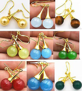 10mm Multicolor Gems Dangle Gold Plated Hook Earrings Multiple Color Choices