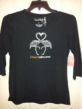 HALLOWEEN TEE T-SHIRT SMALL BLACK FLAMINGO EMBROIDERY HEART NWT NEW