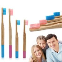 Natural Bamboo Toothbrush Family Pack with Multiple Color 4 Pack Biodegradable