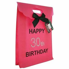 Happy 30th Birthday Glitzy Gift Present Bag in HOT PINK & Black Diamante Stones