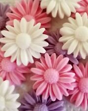 18 PINK WHITE AND LILAC DAISIES Edible sugar cake decoration Cupcakes Birthday