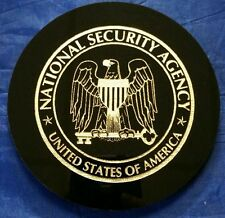 """NSA National Security Agency 5"""" Black Acrylic Disk w Gold Painted Logo & Text"""