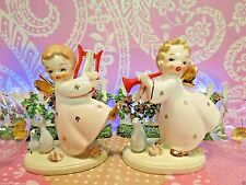Vtg Set of 2 Christmas Angels W Gold Butterfly Wings Harp Red Horn W Partridges