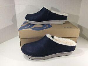 CLARKS Womens Step Flowclog Blue Textile Clogs Slippers House Shoes Sz 11 ZF-25