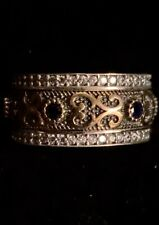 Eternity Band Spinner Blue Sapphire & Crystal Topaz Silver & Bronze Ring Size 9