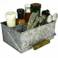 Table Caddy Condiment Holder Galvanised Steel 26.5 x19 x11.5cm Restaurant Tidy