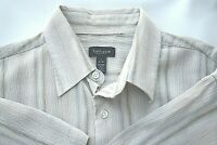 Beige Stripe Van Heusen Large Mens Shirt Cotton Rayon from Bamboo Collar Casual