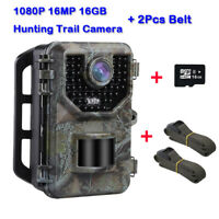 16MP 1080P Hunting Camera + 16GB Card + 2X Belt Security Game Wild Trail Cameras