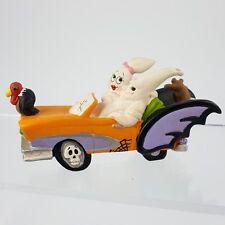 "Creepy Hollow Halloween Ghost Couple in Spooky Orange Car 4.5"" Village Figurine"