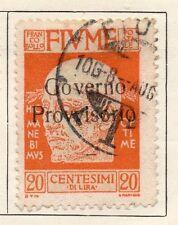 FIUME 1920 PRIMA EMISSIONE USATO FINE 20c. Optd PROVVISORIO 040478
