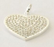 VALENTINE DAY LARGE 3D SILVER & CLEAR RHINESTONE HEART CLIP ON PENDANT/.CHARM