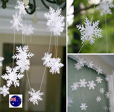 3M Christmas White Snow flakes Party Banner Door Hanging Decorations Garlands
