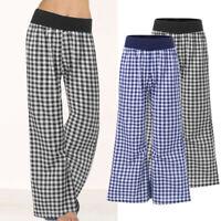 Mode Femme Pantalon Vérifier Casual Taille elastique Loose Jambe Large Plus