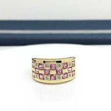 10k Yellow Gold Pink Sapphire Diamond Ring Wide Band September Birthstone