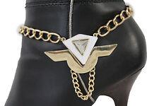 Women Gold Metal Chain Boot Bracelet Anklet Shoe White Geometric Charm Jewelry