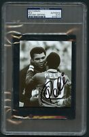 Pele signed autograph auto 4x5 Photo with Muhammad Ali PSA Slabbed Authenticated