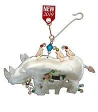 Rhinoceros Rhino & Baby Calf Metal Ornament Nwt Fair Trade Handmade Thailand