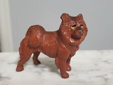 Vintage 1940s Cast Iron Metal Figure Chow Spitz Eskimo Samoyed Sled Dog